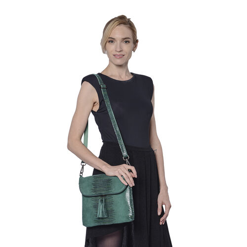 Lizard Skin Pattern 100% Genuine Leather Crossbody Bag with Detachable Shoulder Strap and Tassel (Size 28x3x24cm) - Teal Green