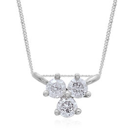 9K White Gold SGL Certified Diamond (Rnd) (I3/G-H) Necklace (Size 18) 0.10 Ct.