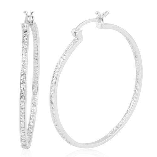 One Time NY Close Out Deal-Diamond (Rnd) Hoop Earrings (with Clasp Lock) in Silver Plated