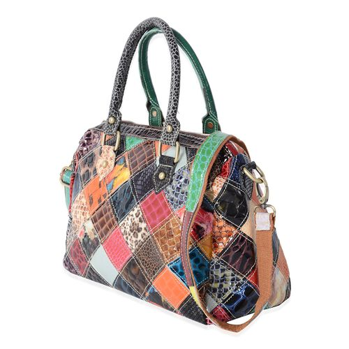 100% Genuine Leather Multi Colour Animal Skin Pattern Tote Bag with Adjustable and Removable Shoulder Strap (Size 28x23x14.5 Cm)