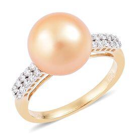 ILIANA 18K Yellow Gold AAA South Sea Golden Pearl (Rnd 10.5-11mm), Diamond (SI/G-H) Ring