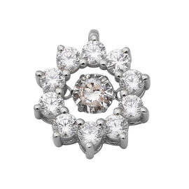 ELANZA Simulated Diamond Pendant in Rhodium Overlay Sterling Silver