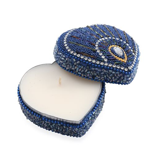 Set of 3 - Blue Colour Heart Shaped Beaded Box Candles in Exotic Mango Fragrance (Size 7.6x7.6x3.8 Cm)