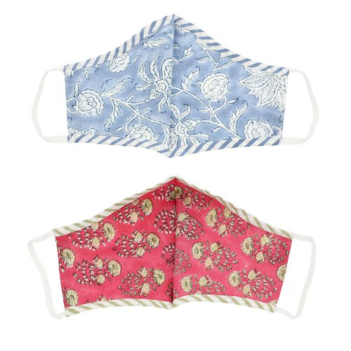 2 Piece Set - 100% Cotton Hand Block Print Double Layer Reusable Face Cover - Blue and Wine Red