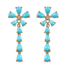Arizona Sleeping Beauty Turquoise (Pear), Natural Cambodian Zircon Floral Drop Earrings (with Push B