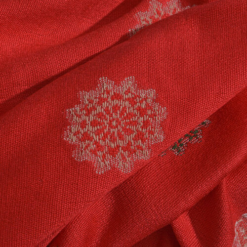 Red and Multi Colour Floral Pattern Reversible Jacquard Scarf with Tassels (Size 180X70 Cm)