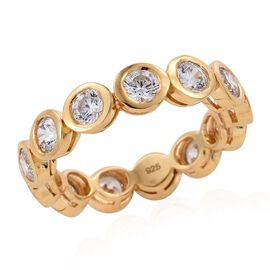 J Francis - 14K Gold Overlay Sterling Silver (Rnd) Full Eternity Ring Made with SWAROVSKI ZIRCONIA