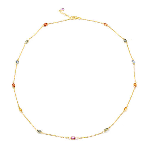 Multi Sapphire Station Necklace (Size 24 with 1 inch Extender) in Yellow Gold Overlay Sterling Silve