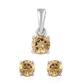 2 Piece Set - Citrine (Rnd) Solitaire Pendant and Stud Earrings (with Push Back) in Platinum Overlay
