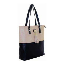 New Season: Tote Bag with Stud & Tassel Detail (39 x 36 x 12) - Biege & Black
