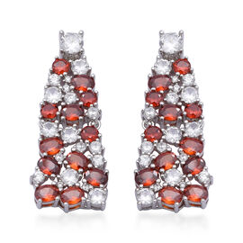 ELANZA Simulated Ruby, Simulated Diamond Earrings (with Push Back) in Rhodium Overlay Sterling Silve