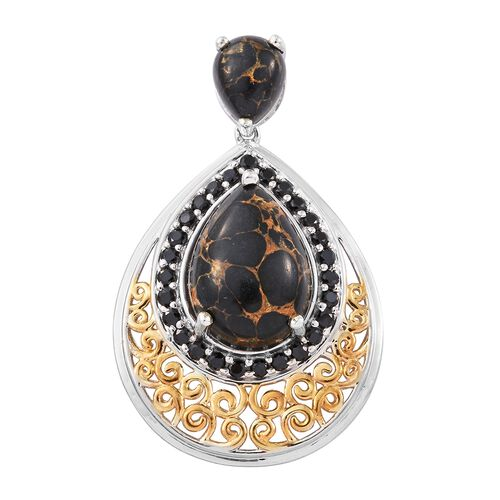 Arizona Mojave Black Turquoise (Pear), Boi Ploi Black Spinel Pendant in Platinum and Yellow Gold Overlay Sterling Silver 13.000 Ct. Silver wt 7.34 Gms.