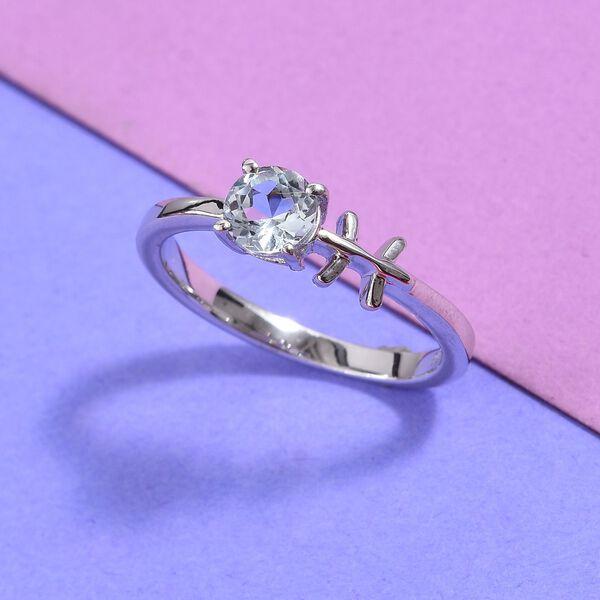 AA Espirito Santo Aquamarine Zodiac-Pisces Ring in Platinum Overlay Sterling Silver 0.43 Ct.