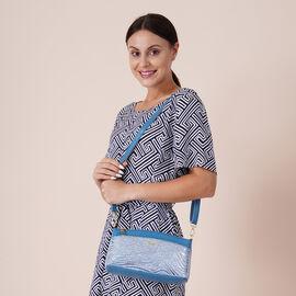 Womens Zebra Pattern Genuine Leather Crossbody Bag with Shoulder Strap - Sky Blue