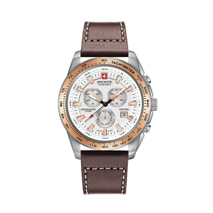 Swiss Military Hanowa Crusader Chrono Mens Watch with White Dial, Rose Gold Bezel and Brown Leather