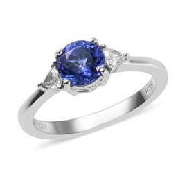 RHAPSODY 950 Platinum AAAA Tanzanite (Rnd 6mm), Diamond (VS/E-F) Ring 1.15 Ct., Platinum wt 4.00 Gms