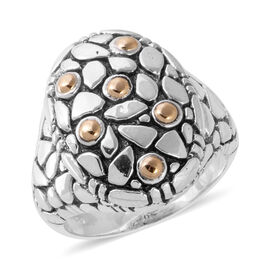 Bali Legacy Collection Sterling Silver and 18K Yellow Gold Ring, Metal wt 8.50 Gms.