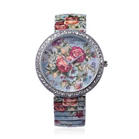STRADA Japanese Movement Red Floral Pattern Water Resistance White Austrian Crystal Studded Bracelet