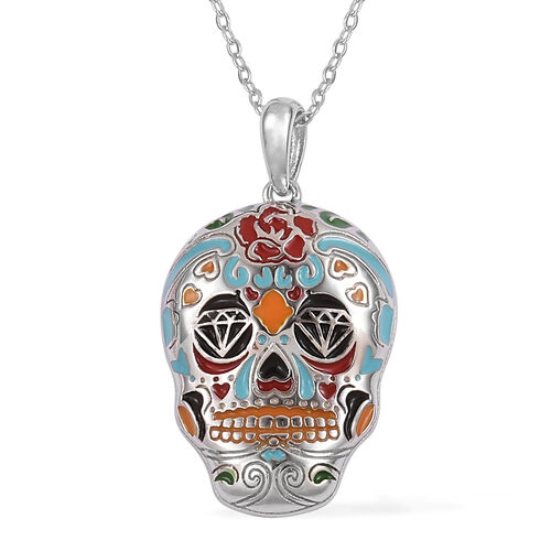 Halloween Collection- Rhodium Overlay With Enameled Sterling Silver Skull Pendant With Chain (Size 18), Silver wt: 5.52 Gms.
