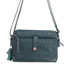 Super Chic100% Genuine Leather Multi Compartment Teal Colour Handbag with Shoulder Strap (22x9x15 Cm)