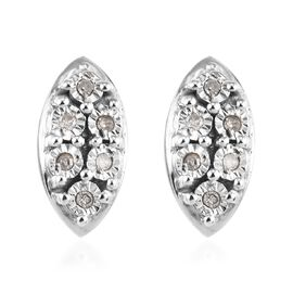 Diamond Cluster Stud Earrings in Platinum Plated Sterling Silver with Push Back