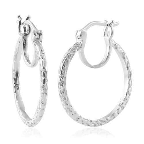 Designer Inspired - Sterling Silver Hoop Earrings (with Clasp), Silver wt. 4.00 Gms.