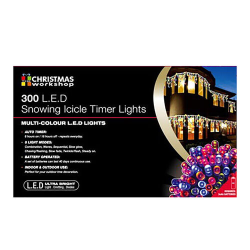 300 LED Snowing Icicle Battery Operated Timer Lights - Multi Colour (3C Battery not Included)