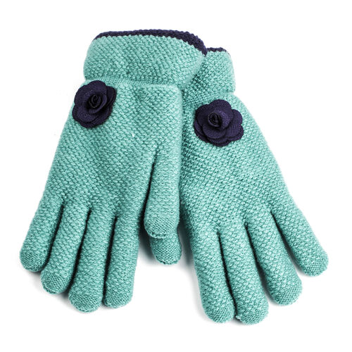 Sherpa Lined Turquoise Colour Gloves with Navy Flower (Size 20 Cm)