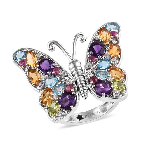 GP 4.47 Ct Amethyst and Multi Gemstone Butterfly Ring in Platinum Plated Sterling Silver