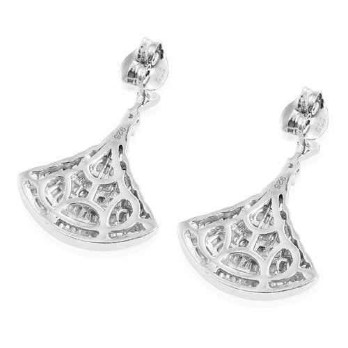Designer Inspired - Diamond (Bgt) Ballerina Earrings (with Push Back) in Platinum Overlay Sterling Silver 1.000 Ct.