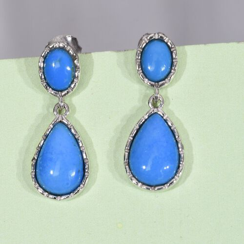 Ceruleite (Pear) Earrings (with Push Back) in Platinum Overlay Sterling Silver 6.000 Ct.