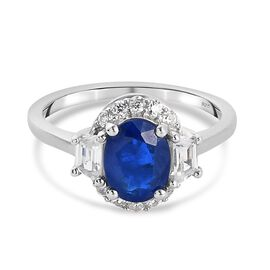 Tanzanian Blue Spinel and Natural Cambodian Zircon Ring in Platinum Overlay Sterling Silver 1.57 Ct.