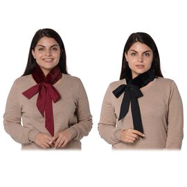 Set of 2 - Solid Colour and Dot Pattern Faux Fur Collar Scarf with Ribbon Strap (Size 7.62x48.3+63.5