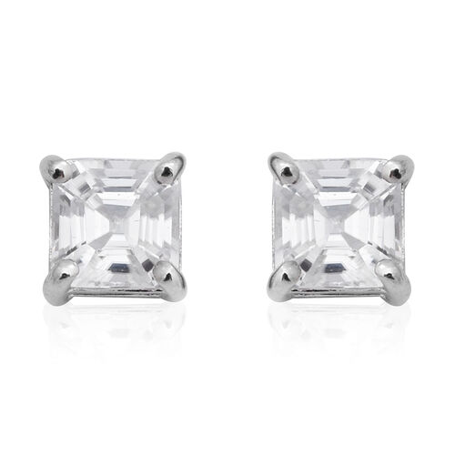 1.92 Ct Natural Cambodian Zircon Stud Solitaire Earrings in Rhodium Plated Sterling Silver