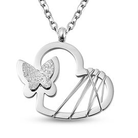 Heart with Butterfly Necklace (Size 16 with 1.5 inch Extender) in Stainless Steel