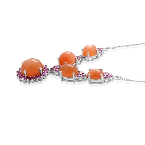 Sri Lankan Pink Moonstone (Ovl 2.25 Ct), Burmese Ruby Necklace (Size 18) in Platinum Overlay Sterling Silver 8.900 Ct.