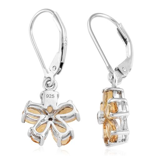 Brazilian Citrine (Pear), Natural Cambodian Zircon Earrings (with Lever Back) in Platinum Overlay Sterling Silver 2.000  Ct.