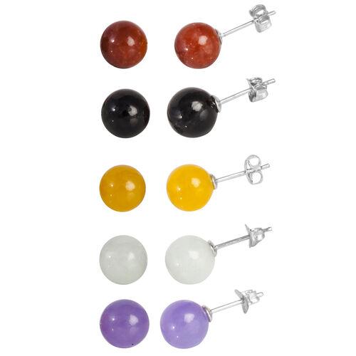 Set of 5 - Green Jade, Purple Jade, Yellow Jade, Black Jade and Red Jade Stud Earrings (with Push Back) in Rhodium Plated Sterling Silver 37.500 Ct.