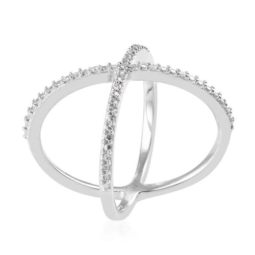 Diamond Criss-Cross Ring in Platinum Overlay Sterling Silver 0.04  Ct.