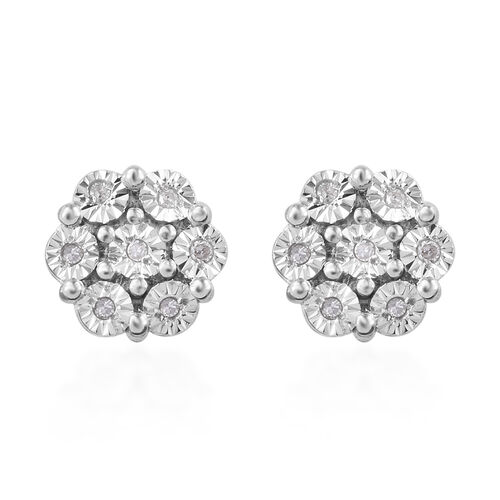 One Time Deal-Designer Inspired- Miracle Set Diamond (Rnd) Earrings (with Push Back) in Platinum Overlay Sterling Silver