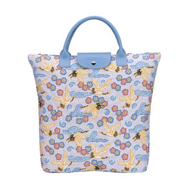 Signare Tapestry - Japanese Crane Foldaway Shopping Bag (Size Folded 21x12x1.5 Cm, Opened 38x35.5x10