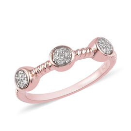 Diamond Ring in Rose Gold Overlay Sterling Silver