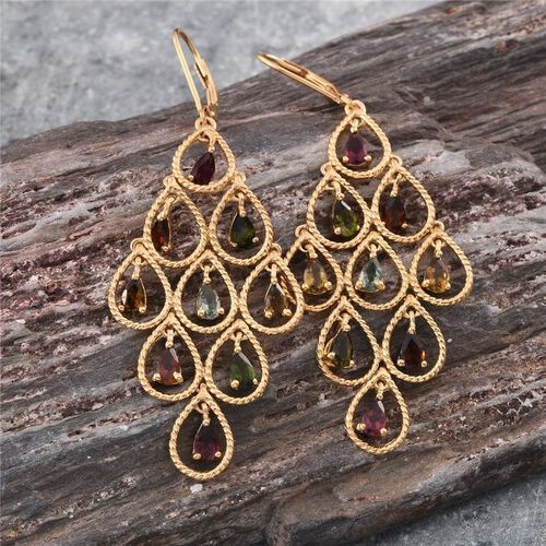 Rainbow Tourmaline (Pear) Lever Back Earrings in 14K Gold Overlay Sterling Silver 3.750 Ct.