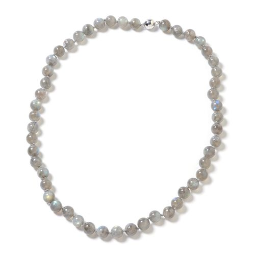 One Time Deal- Pauls Island Labradorite (Rnd) Beads Necklace (Size 20) in Rhodium Overlay Sterling S