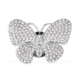 White and Black Austrain Crystal Butterfly Brooch in Silver Plated