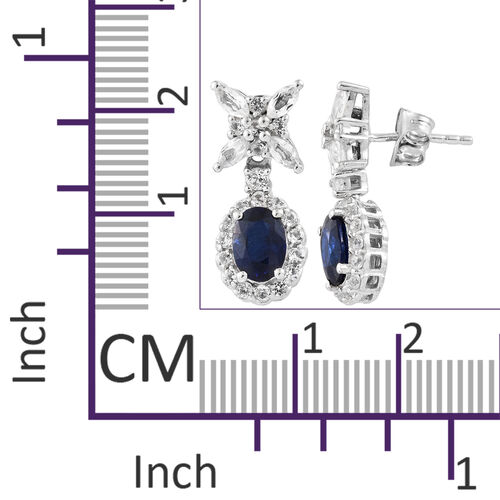 Blue Spinel (Ovl), White Topaz Earrings (With Push Back) in Platinum Overlay Sterling Silver 3.250 Ct.