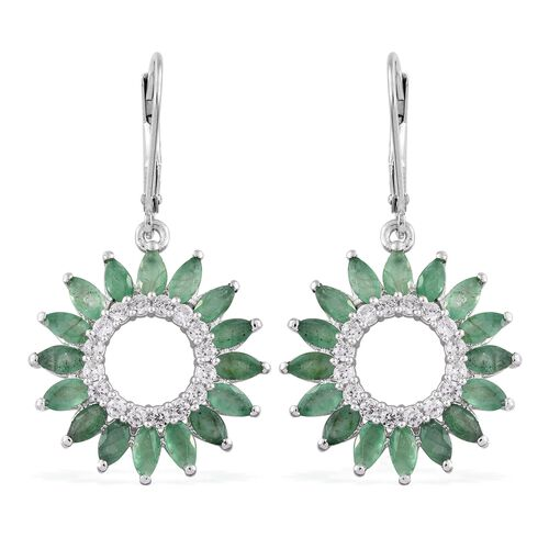 5.75 Ct Kagem Zambian Emerald and Cambodian Zircon Floral Lever Back Earrings in Silver