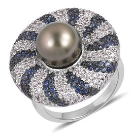 Tahitian Pearl, Natural White Cambodian Zircon and Madagascar Blue Sapphire Ring in Black Rhodium Pl