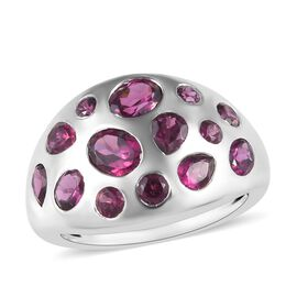 Rhodolite Garnet (Ovl and Rnd) Ring in Platinum Overlay Sterling Silver 2.50 Ct.