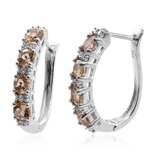Imperial Topaz (Rnd), Natural Cambodian Zircon Hoop Earrings (with Clasp) in Platinum Overlay Sterli